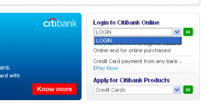 citibank website, log in dropdown box.
